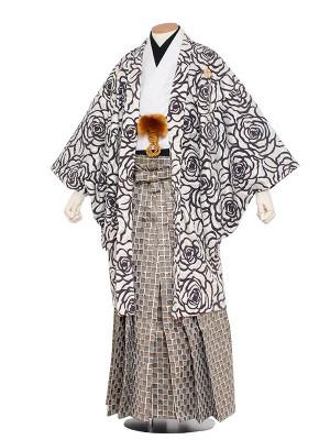男性用袴 紋服5号 白ベロア・バラ柄(オリジナル)/5A02