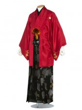 男性用袴(mon-aka5)紋服5号赤色/5R10