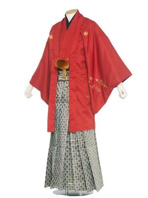 男性用袴レンタル 5号 赤紋付 龍・虎/5R03
