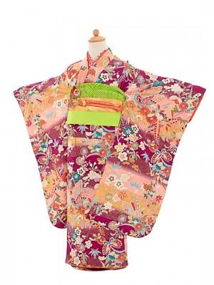 七五三(7歳女結び帯)正絹振袖F729紫/花