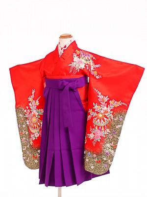七五三(5歳女袴)女児袴F501 朱赤花鞠/紫