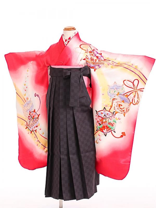 七五三(7歳女袴)女児袴F703 赤糸巻き/黒