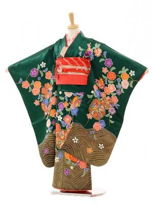 七五三(7歳女結び帯)F716 グリーン桜