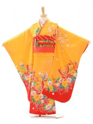 七五三(7歳女結び帯)F710 黄色裾赤蝶(正絹)