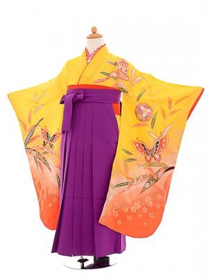 七五三(7歳女袴)女児袴F704 黄色蝶舞/紫