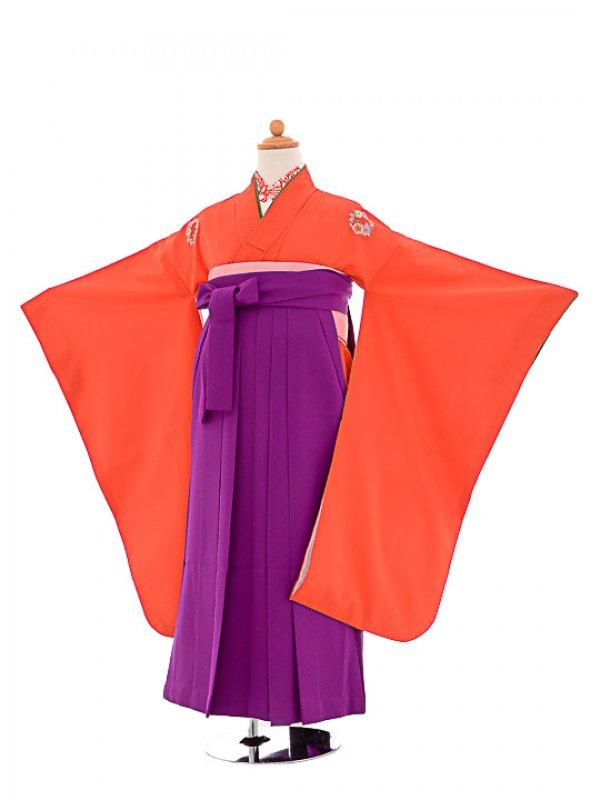 七五三(7歳女袴)女児袴F705 朱色華紋/紫