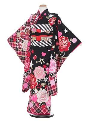 七五三レンタル(7歳女の子結び帯)H704 黒地にチェック柄 バラ