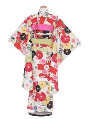 七五三レンタル(7歳女の子結び帯)H713 クリーム地 菊
