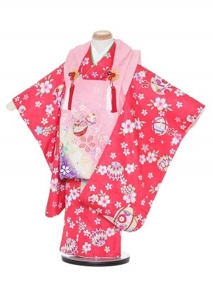 七五三レンタル(3歳女被布)H328 ピンク×赤 小花に鈴