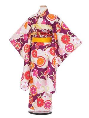 七五三レンタル(7歳女の子結び帯)H703 式部浪漫 パープル地 花