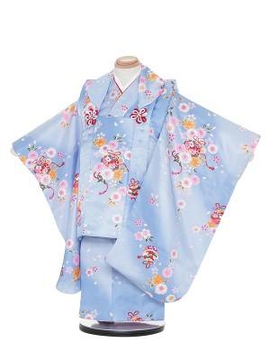 七五三レンタル(3歳女被布)H318 水色地 小花に鈴