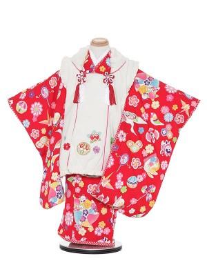 七五三レンタル(3歳女被布)H352 乙葉 白×赤 うさぎ