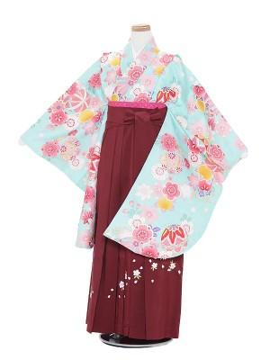 小学生卒業式袴レンタル(女の子)A006 水色花に鞠×エンジ袴