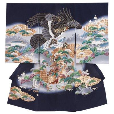 【正絹】お宮参り男の子 2154 紺 /鷹と武将