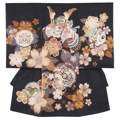 【正絹】お宮参り男の子2094 黒 /兜と桜