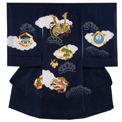 【正絹】お宮参り男の子2134 紺 /兜刺繍