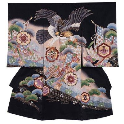 【正絹】お宮参り男の子2116 黒 /鷹と松