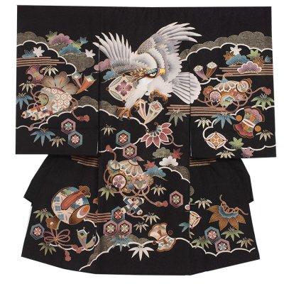 【正絹】お宮参り男の子2015 黒 /刺繍鷹と宝づくし