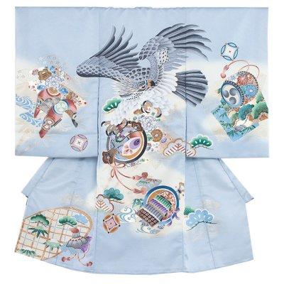 お宮参り男の子2190 水色 /鷹と小槌