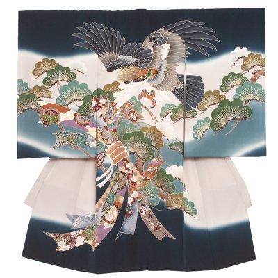 【正絹】お宮参り男の子2013 紺緑 /頭刺繍鷹に松束の