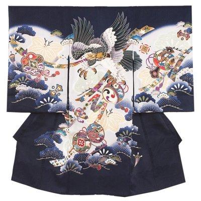 【正絹】お宮参り男の子 2168 紺/鷹と太鼓と松