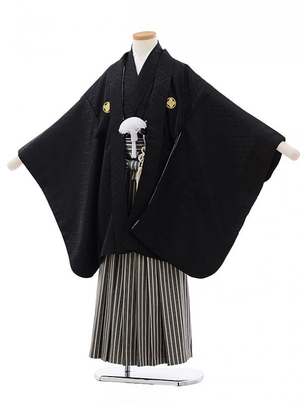 753レンタル(7歳男袴)0811黒×ベージュしま