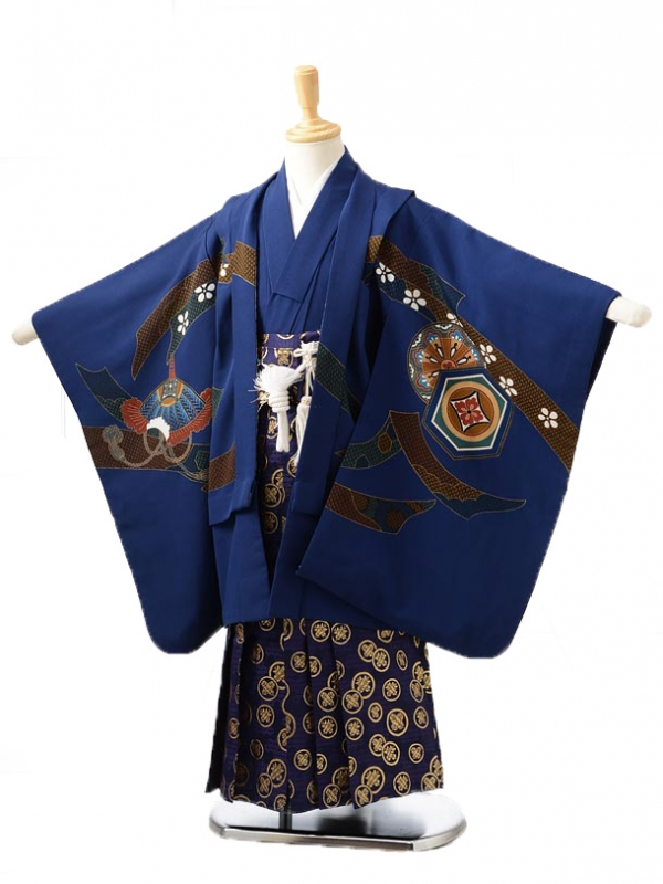 753レンタル(5歳男の子袴)0501紺兜
