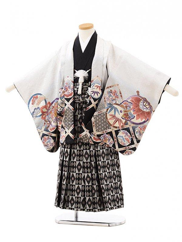 753レンタル(5歳男袴)0554白×黒鷹
