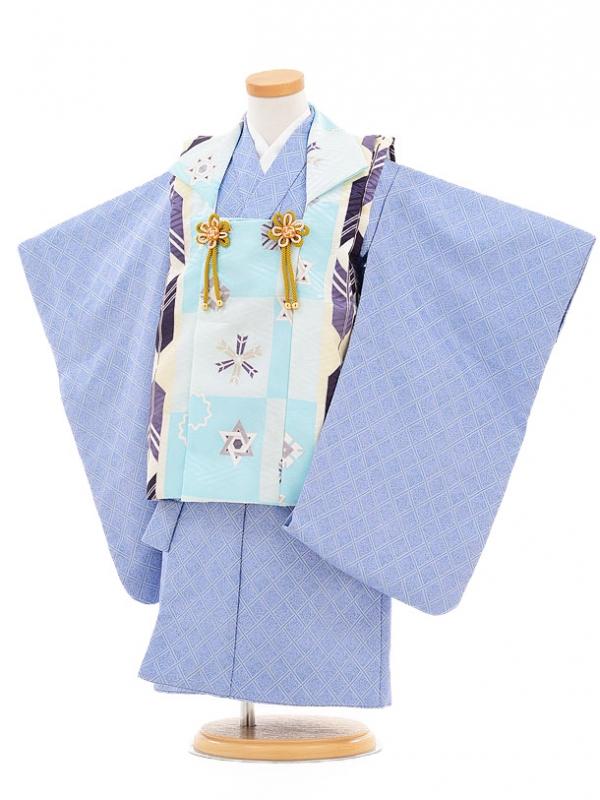 753レンタル(3歳男被布)0265ブルー矢柄×薄紫