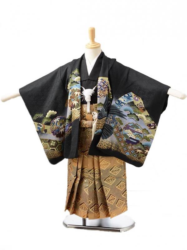 753レンタル(3歳男袴)0229黒に鷹小槌