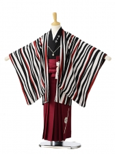 753レンタル(5歳男袴)0593清武 白黒縞