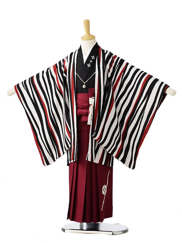 753レンタル(5歳男の子袴)0593清武白黒縞