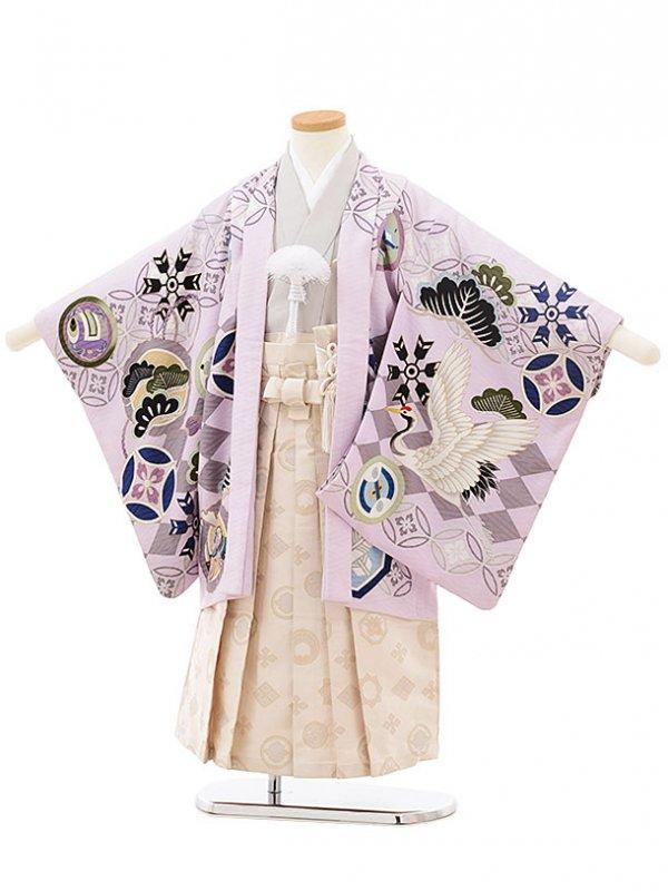 753レンタル(5歳男の子袴)0550乙葉パープル×白