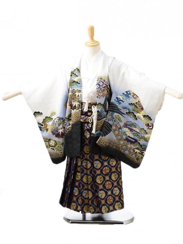 753レンタル(3歳男袴)0233白に鷹小槌