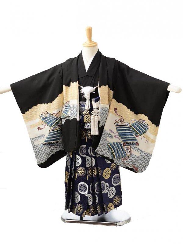 753レンタル(3歳男袴)0218黒×紺兜