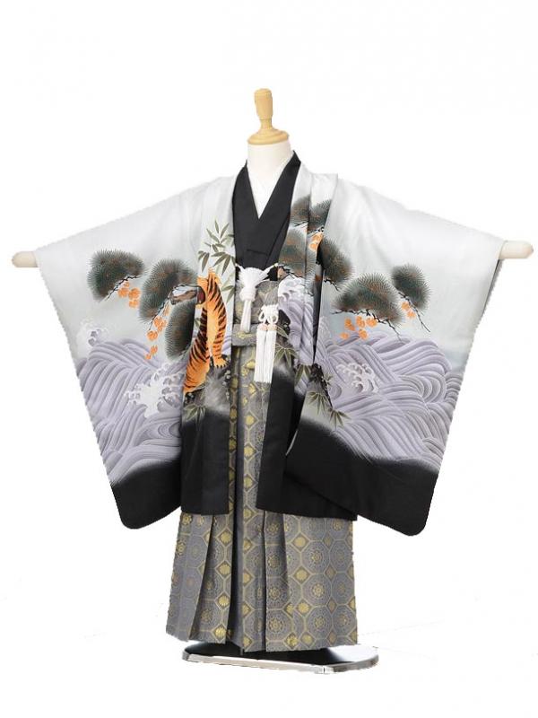 753レンタル(5歳男の子袴)0576白地鷹と虎