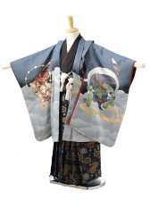 753レンタル(5歳男袴)0541グレー風神雷神