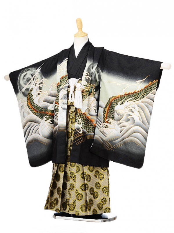 753レンタル(5歳男袴)0580黒地波と龍