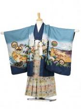 753レンタル(5歳男袴)0581ブルー地鷹と鼓