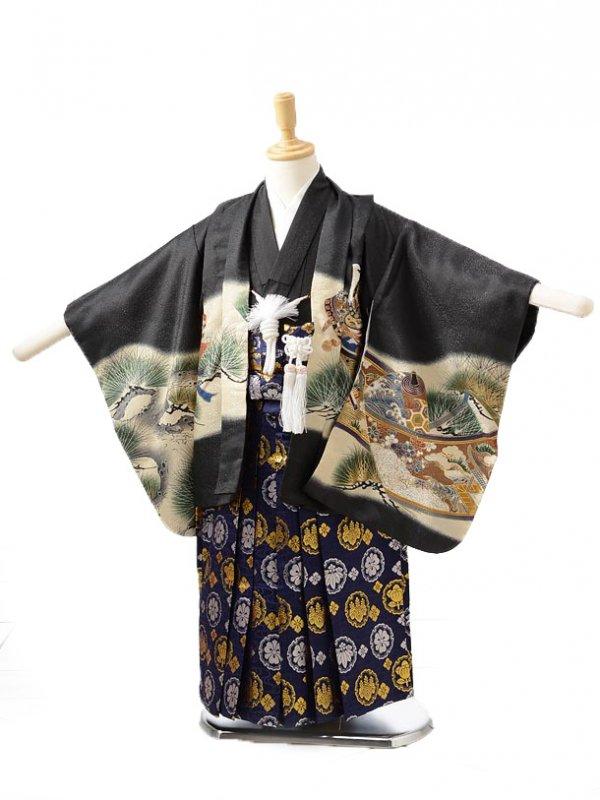 753レンタル(3歳男袴)0217黒×青鷹
