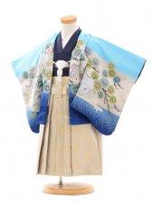 七五三(2男袴)0294 花うさぎ 水色×紺兜