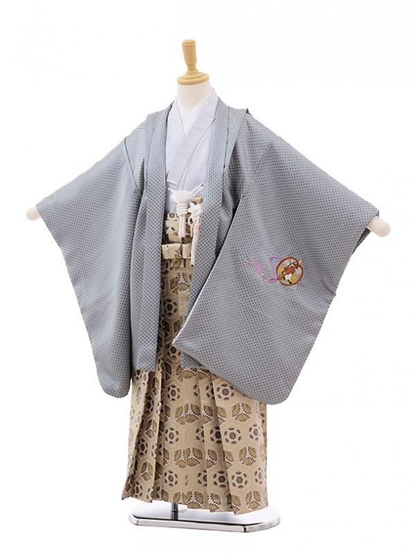 七五三レンタル(7歳男の子袴)0815 グレー地 兜 刺繍