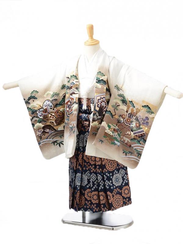 753レンタル(3歳男袴)0237白に兜龍