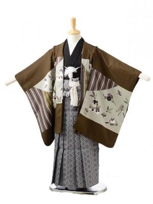 753レンタル(5歳男の子袴)0521茶祝い柄