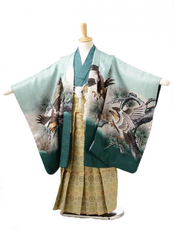 753レンタル(5歳男の子袴)0515グリーン鷹