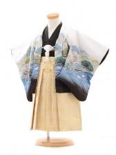 七五三(2男袴)0293 花うさぎ 白×黒 鷹