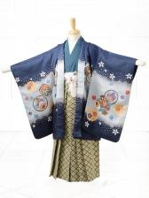 753レンタル(5歳男袴)0569ブルー花雪輪