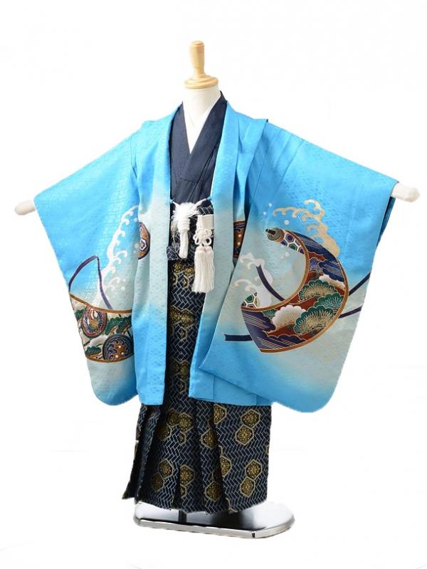 753レンタル(5歳男の子袴)0525ブルー鷹