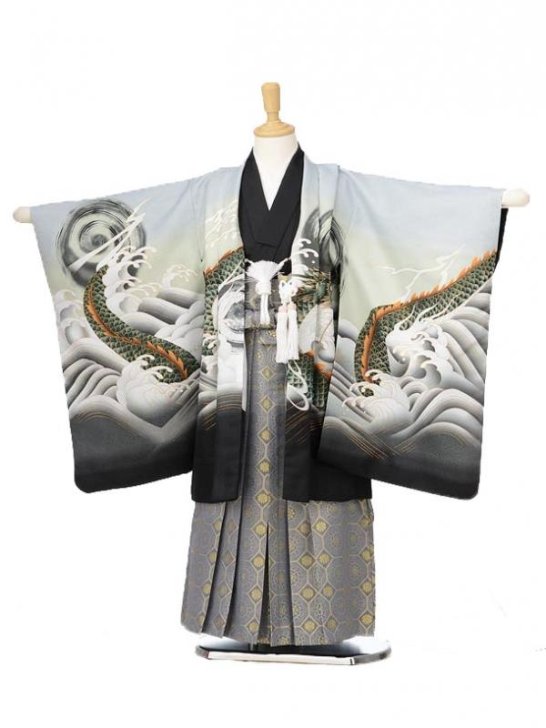 753レンタル(5歳男の子袴)0583薄グレー波と龍