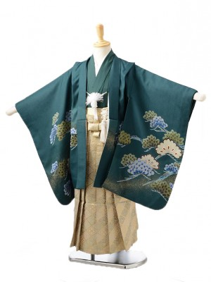 753レンタル(5歳男の子袴)0566モスグリーン鷹